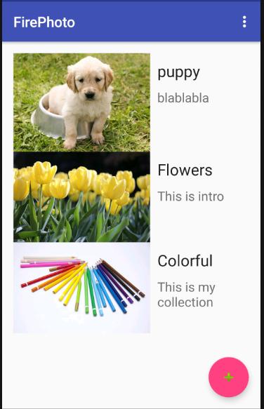 使用RecyclerView展示Firebase資料庫與雲端儲存的相片